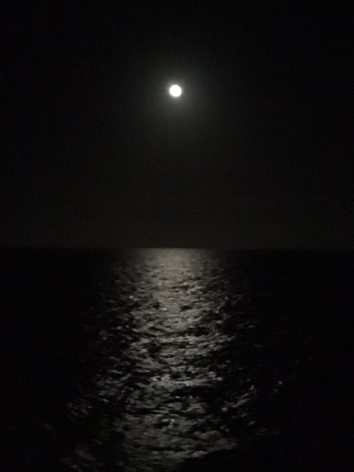 Moon, K Brunini, Ocean, Night, Dark, Moonlight