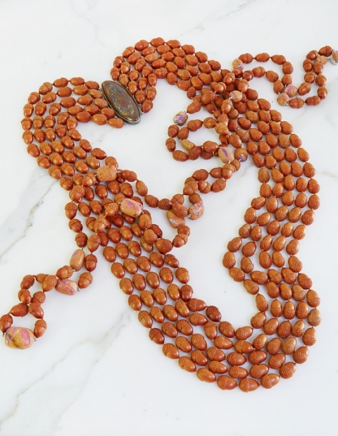 Hand-ccrafted and nature-inspired bead necklace in sterling silver with Yowah nut opal and carved sawo wood acorns