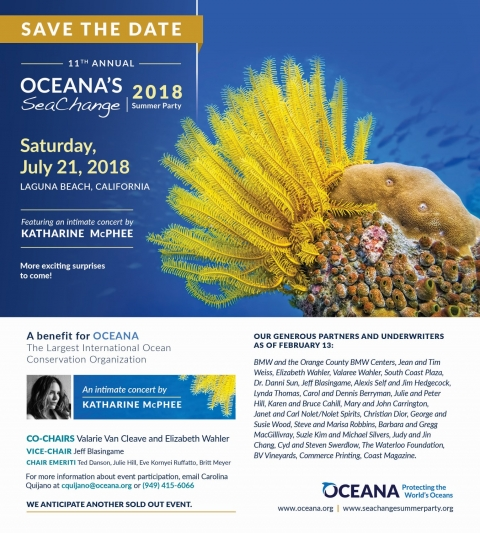 Oceana SeaCHANGE Event July 21 2018 Laguna Beach CA