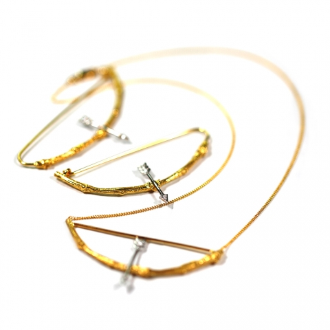 kbrunini Fletches d'Amour Twig necklace and earrings in yellow and white gold with diamonds
