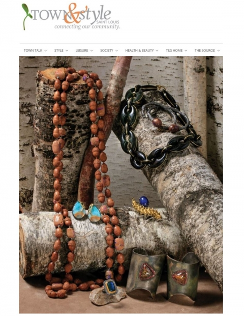 Town & Style St Louis Arpil 2018 features K. Brunini twig cuff in sterling silver with diamonds, opal twig cuff in sterling silver, koroit opal cuffs, opal earrings, opal and acorn carved wooden bead necklace